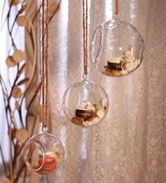 Transparent Borosilicate Glass Borosil Hanging Round Balls Tea Light Holders  - Set Of 3