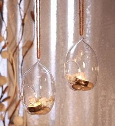 Transparent Borosilicate Glass Easter Egg Hanging Ball Tea Light Holder  - Set Of 2