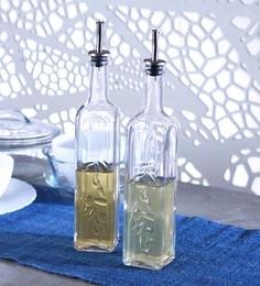 Transparent Homemade Oil-Vinegar Metal Plug 500 ML - Set Of 2