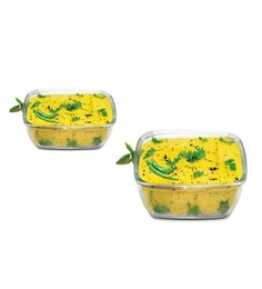 Treo Borosilicate Glass 1500 ML Square Trays With Microwavable Lid - Set Of 2