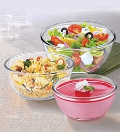 Treo Borosilicate Glass Microwave Safe Mixing Bowls - Set Of 3
