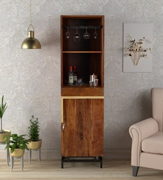 Trestle Solid Acacia Wood Tall Bar Unit In Ginger Bronze Finish