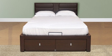 Triumph Queen Bed with Hydraulic Storage in Dark Walnut Colour by @home at pepperfry