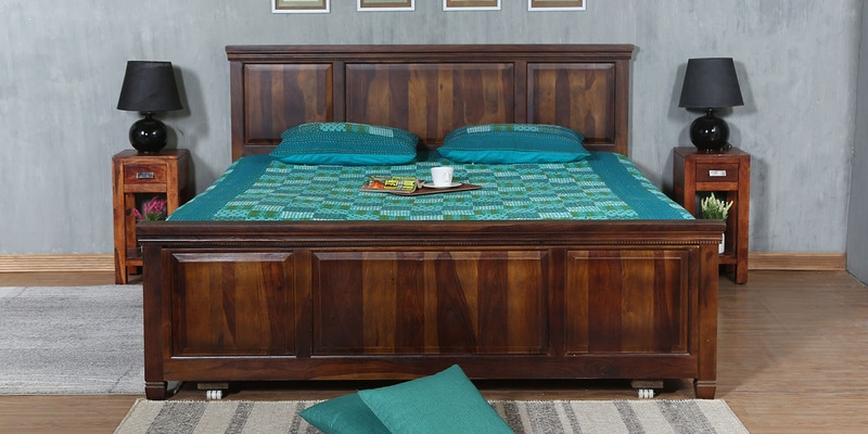 Trafford King Bed with Drawer Storage in Warm Rich Finish by Amberville