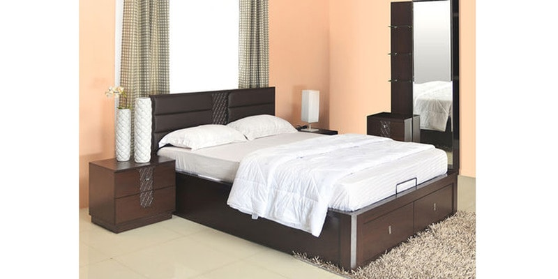 Triumph Queen Size Bedroom Set in Dark Walnut Colour by @home
