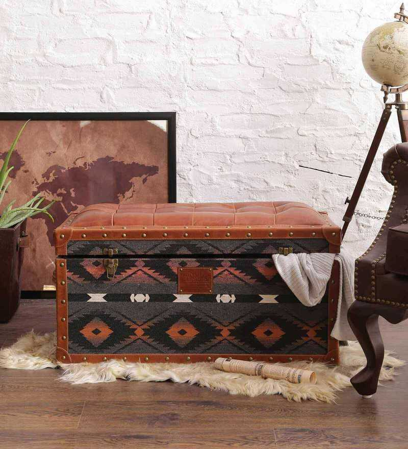 Seating Cum Storage Trunk With Traditional Textile U0026 Genuine Leather By  Studio Ochre