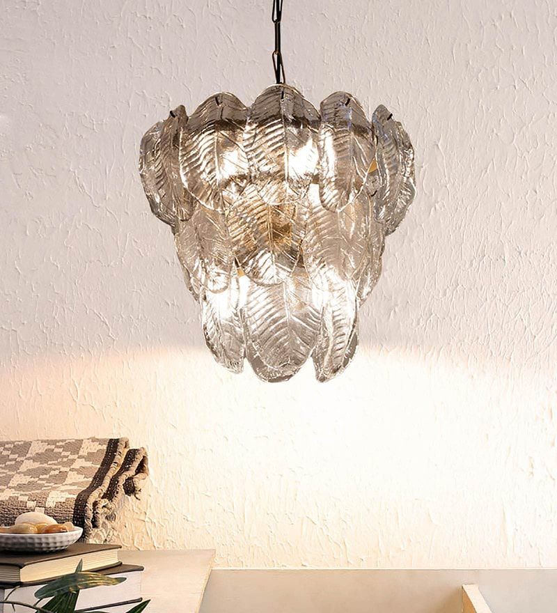 Transparent Glass Chandelier by Ujjala