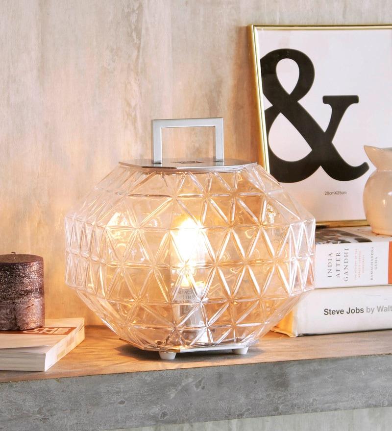 Transparent Glass Edgeo Table Lamp by Jainsons Emporio