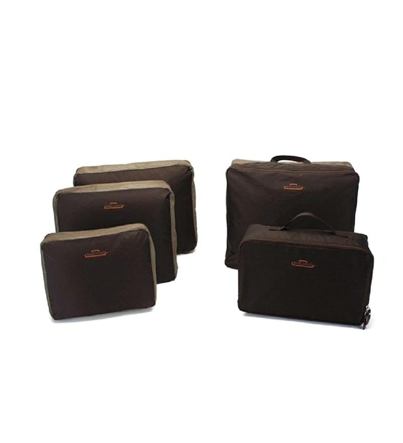 Home Union Nylon Coffee Travel Luggage Organiser - Set of 5