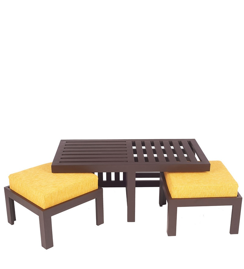 Buy Trendy Coffee Table Set With Two Stools In Yellow Colour By Arra Online Coffee Table Sets