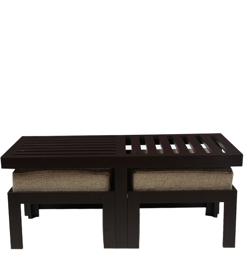 Buy Trendy Coffee Table With Two Stools Jute By Arra
