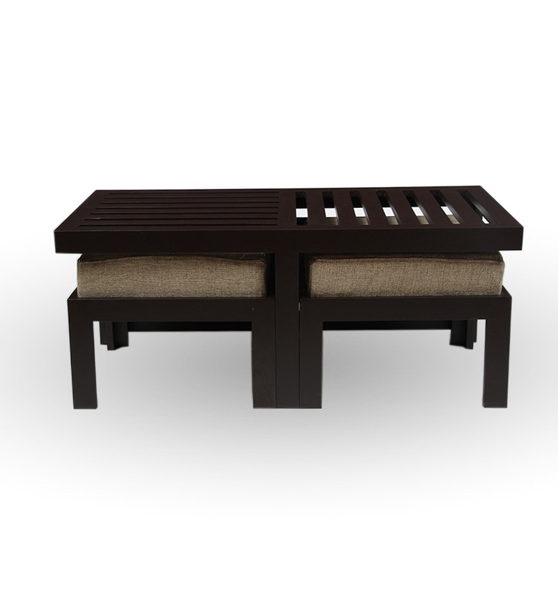Trendy coffee table with two stools jute by purple heart for Coffee tables trendy