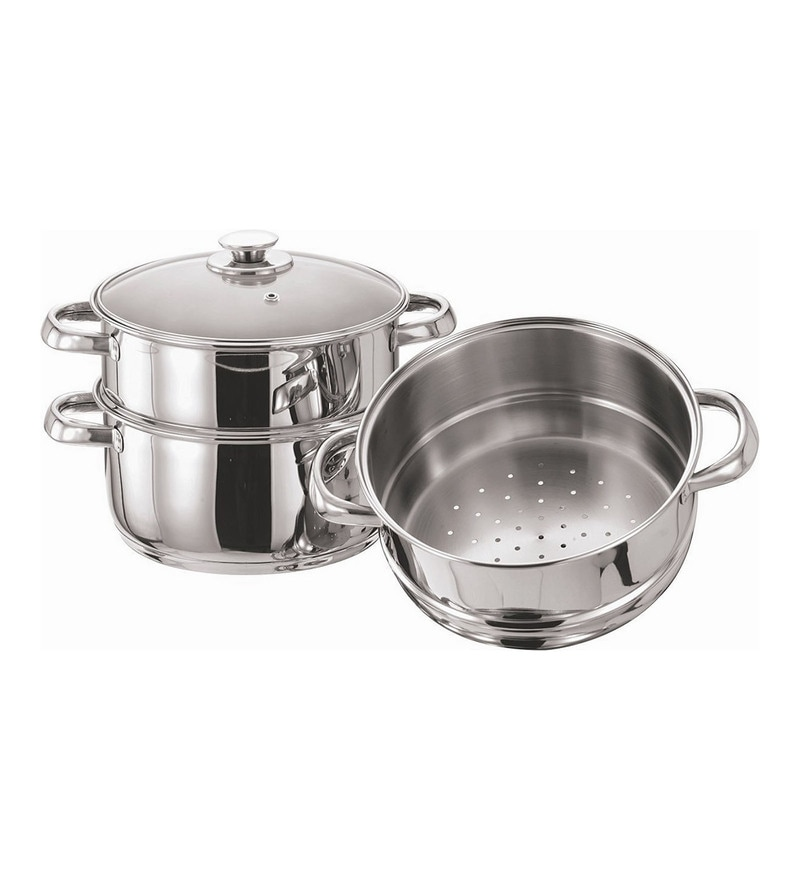 Tri Ply Induction Base Stainless Steel 3 Tier Multi Purpose Steamer with Glass Lid by Pristine