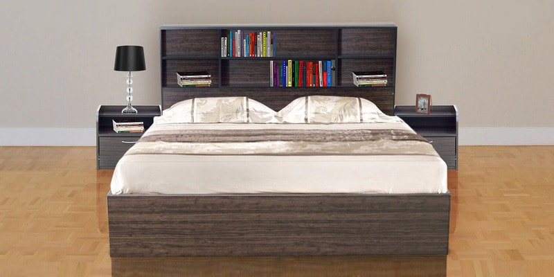 Tsukiko Queen Size Bed with Side Drawers & Storage in Walnut Finish by Mintwud