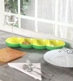 Tupperware Allegra Four Serving Section Green Polycarbonate Serving Tray