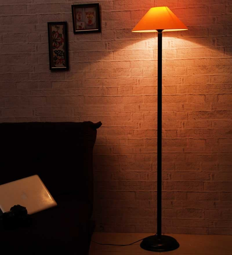 Yellow Shade Black Metal Floor Lamp by The Light House