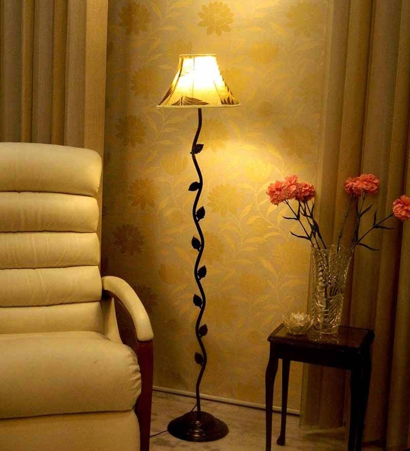 Maroon & Khadi Poly Silk Floor Lamp by Tu Casa
