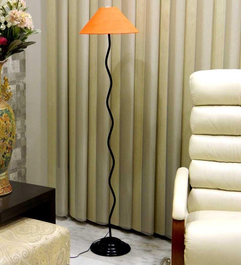 Orange Poly Cotton Floor Lamp by Tu Casa