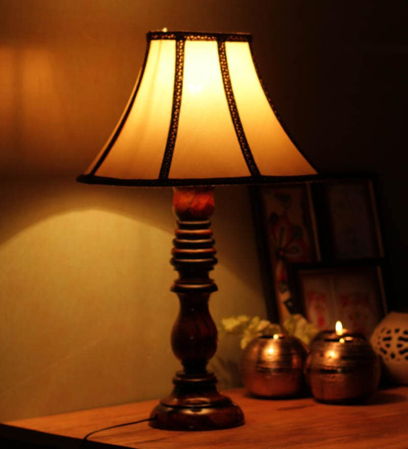 Stripped Shade Wooden Table Lamp by The Light House