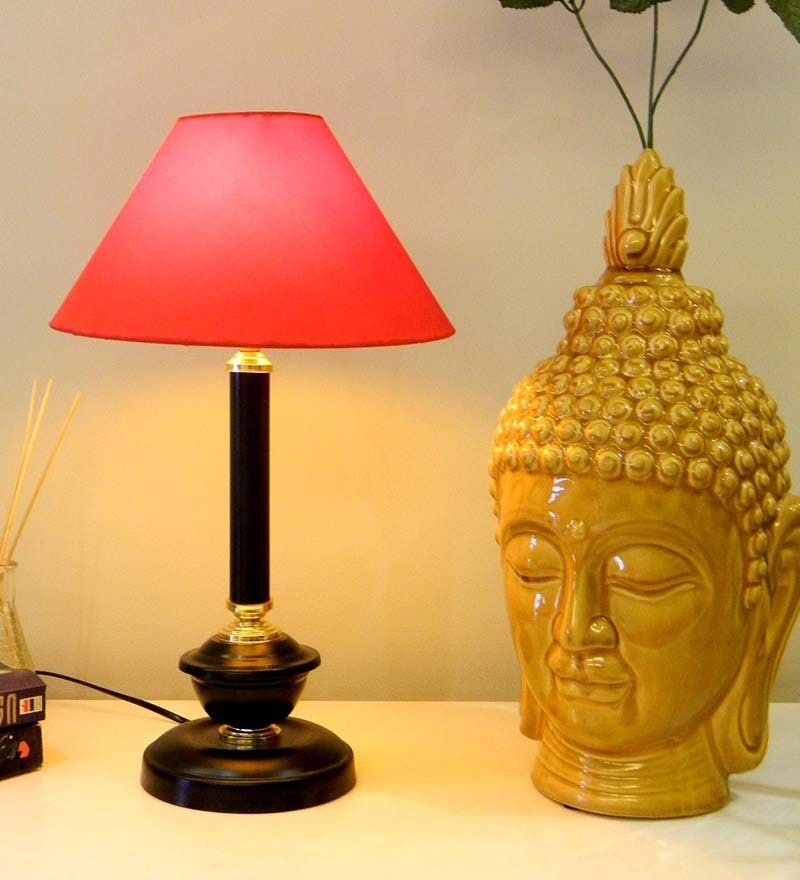 Tucasa Black & Red Coloured Table Lamp