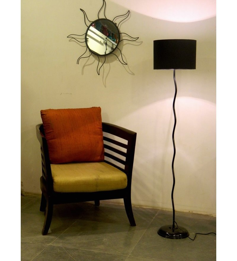 Black Poly Cotton Floor Lamp by Tu Casa