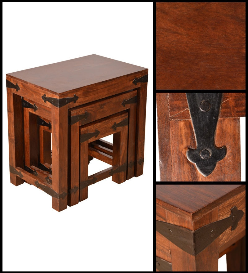 Buy Tudor Solidwood Set Of Tables By HomeTown Online   Eclectic Set Of  Tables   Sets Of Tables   Pepperfry