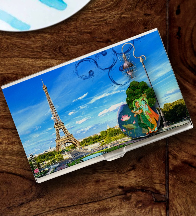 Tungs10 East to West Krishna & Eiffel Tower Stainless Steel Card Holder