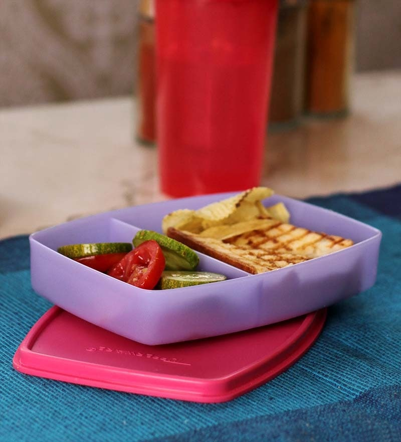 Tupperware Purple and Pink Plastic Small Slim 340 ML Lunch Box - Set of 2