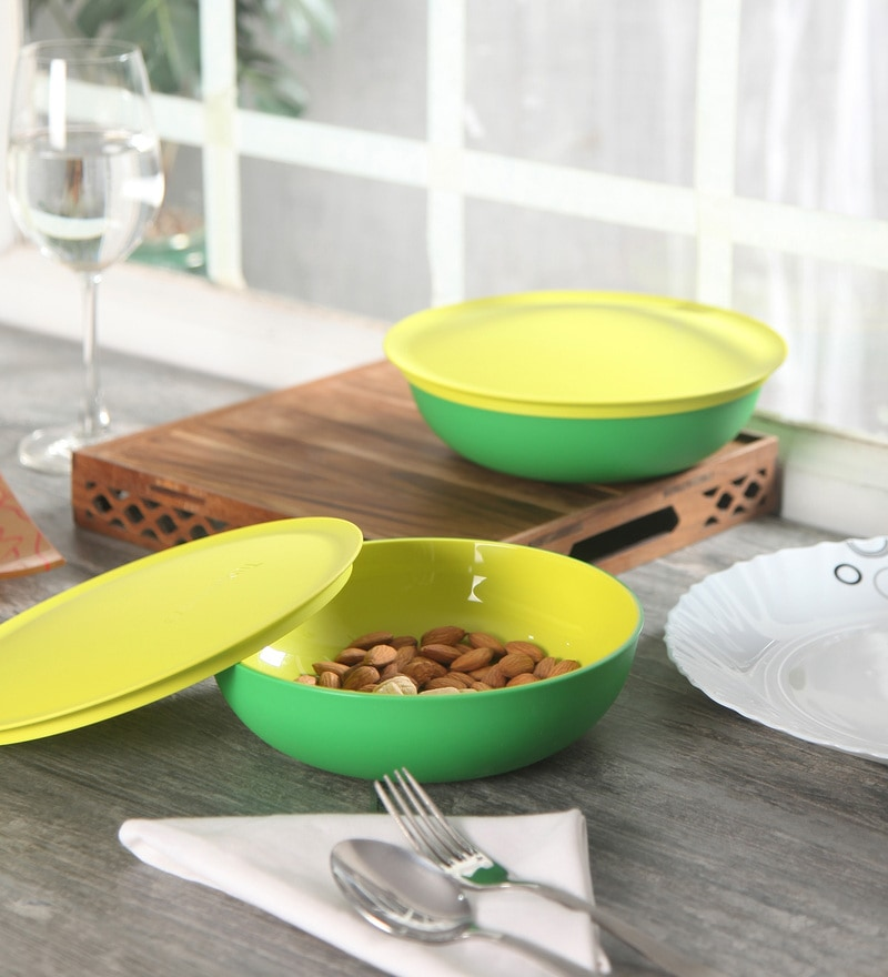 Tupperware Allegra Green Polycarbonate 500 ML Serving Bowls with Lid - Set of 2