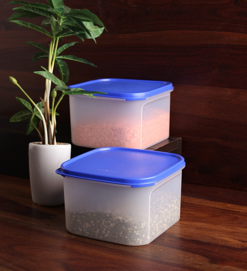 Tupperware Blue Square 2 L Airtight Storage - Set of 2