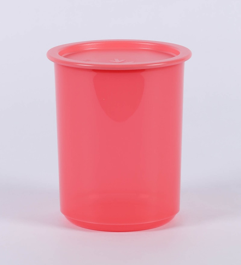 Tupperware One Touch Red Plastic 1.25 L Canister - Set of 2