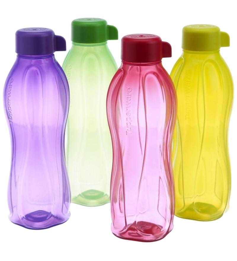 Tupperware Plastic Mulitcolored Round 500 ml Water Bottle 4 Pieces Set