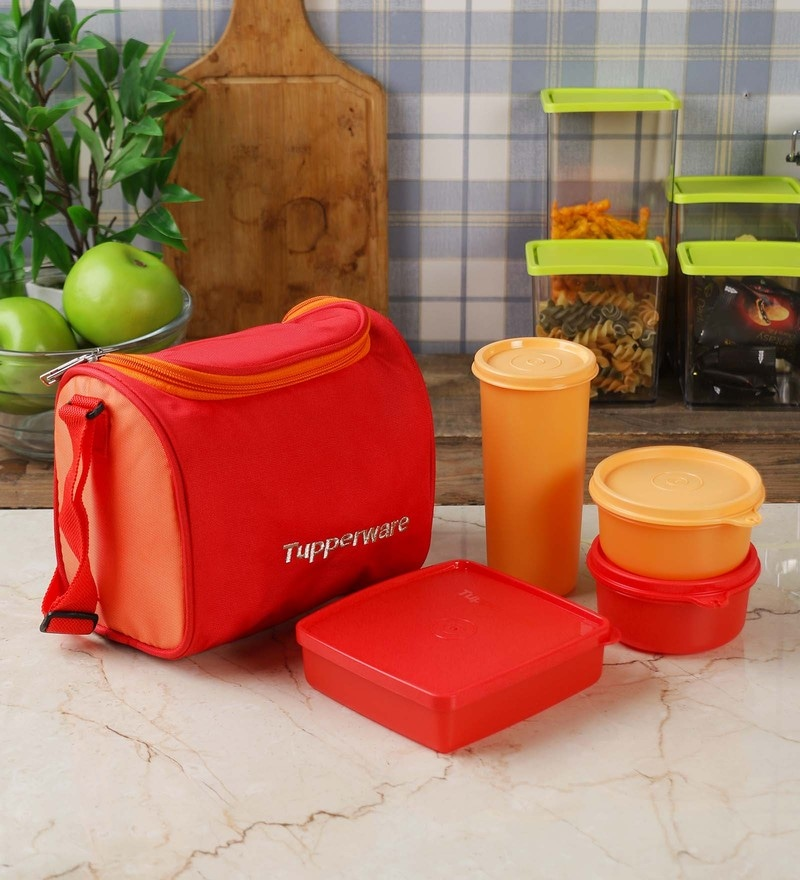 Tupperware Red Best Lunch Box with Insulated Bag - Set of 4
