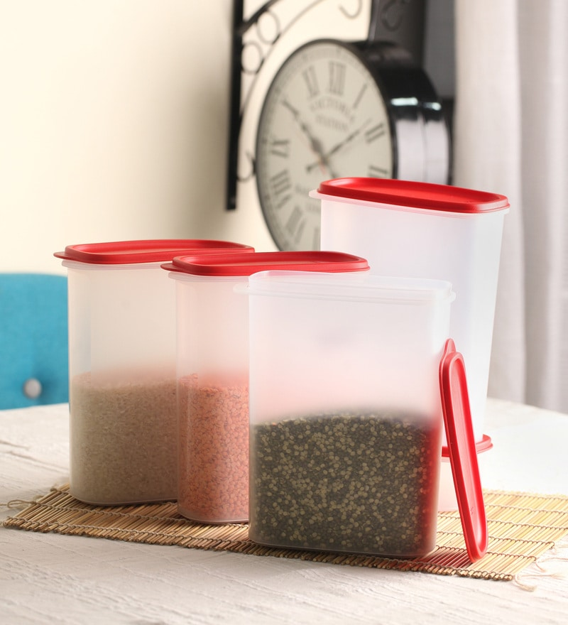 Tupperware Smart Saver Red Rectangle 2.3L Airtight Container - Set of 4