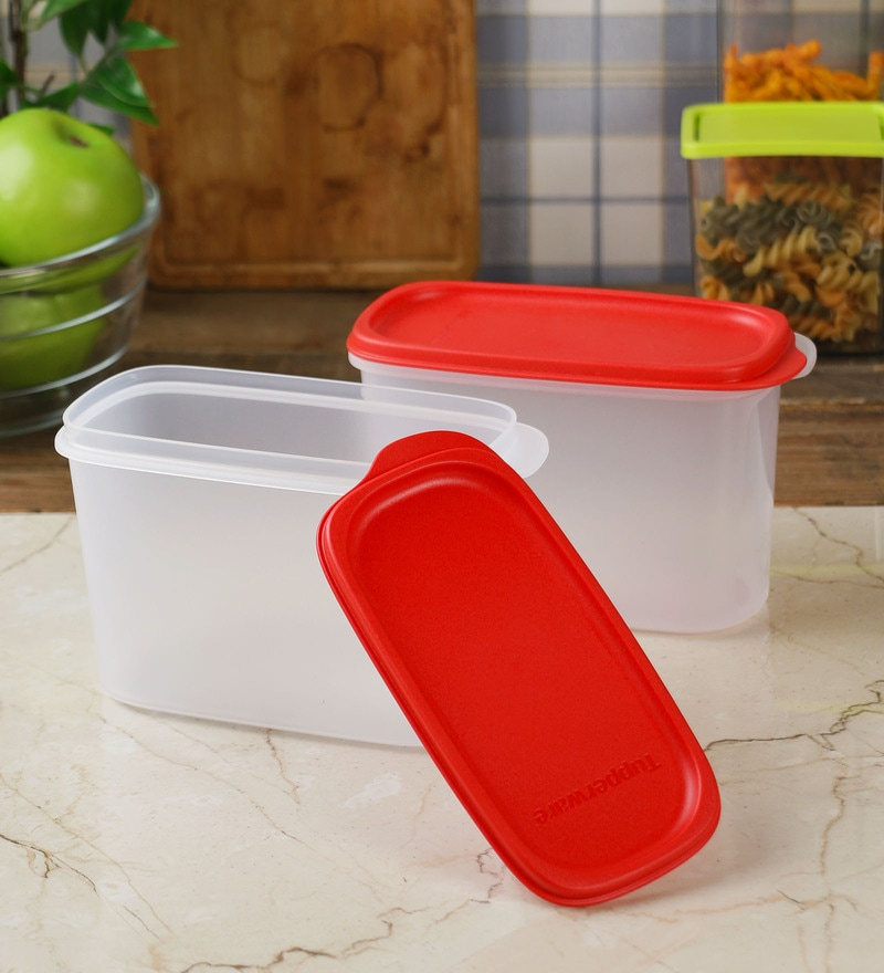 Tupperware Smart Saver White & Red Plastic 1100 ml Airtight Container - Set of 2