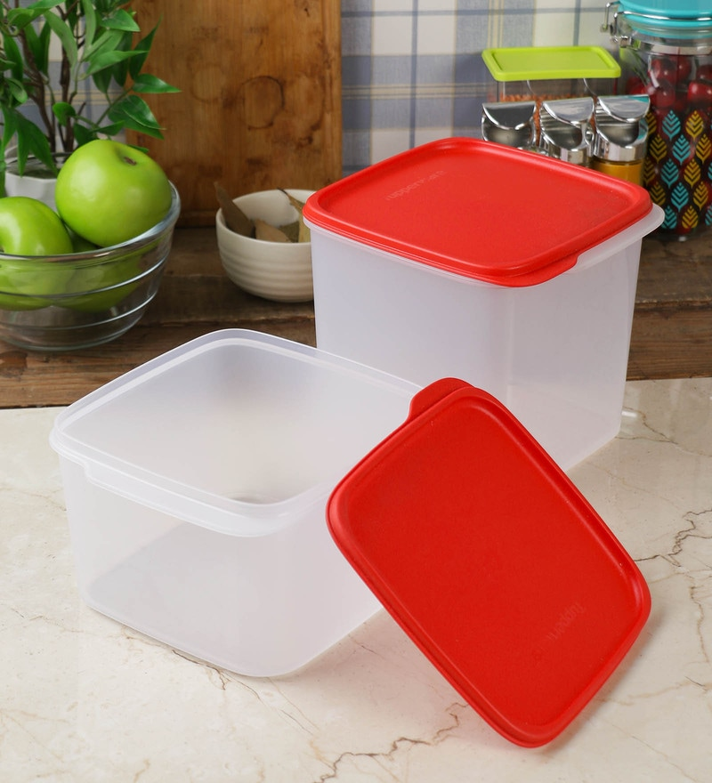 Tupperware Smart Storer White & Red Rectangular Plastic 3.9 L Container - Set of 2