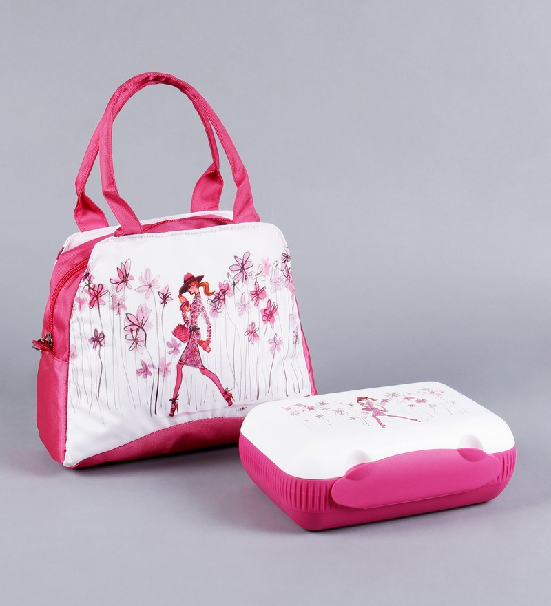 Buy Tupperware Step Out Pink And White Plastic Lunch Box