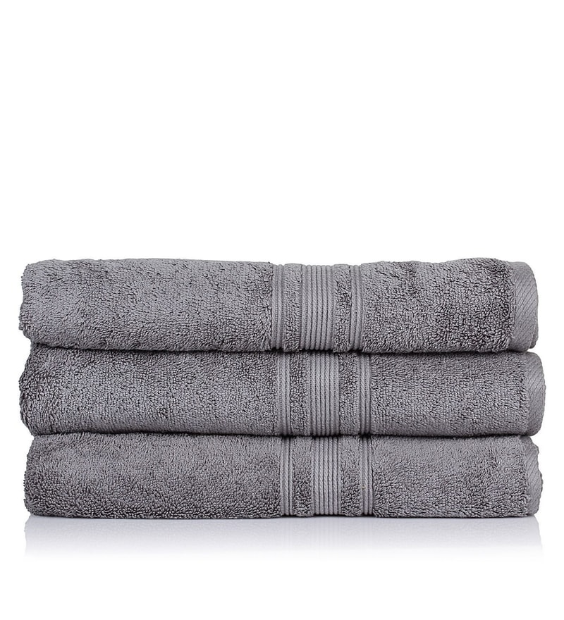 Grey 100% Cotton 30 x 56 Bath Towel - Set of 3 by Turkish Bath