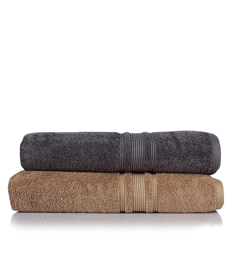 Grey and Brown 100% Cotton 30 x 56 Bath Towel - Set of 2 by Turkish Bath