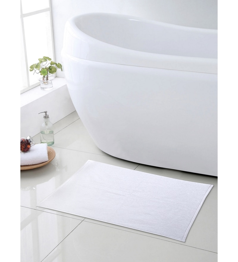 White 100% Cotton 20 x 30 Bath Mat by Turkish Bath