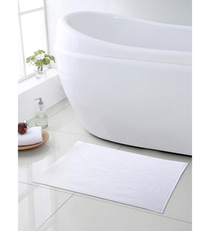 White 100% Cotton 20 x 30 Bath Mat by Turkish Bath