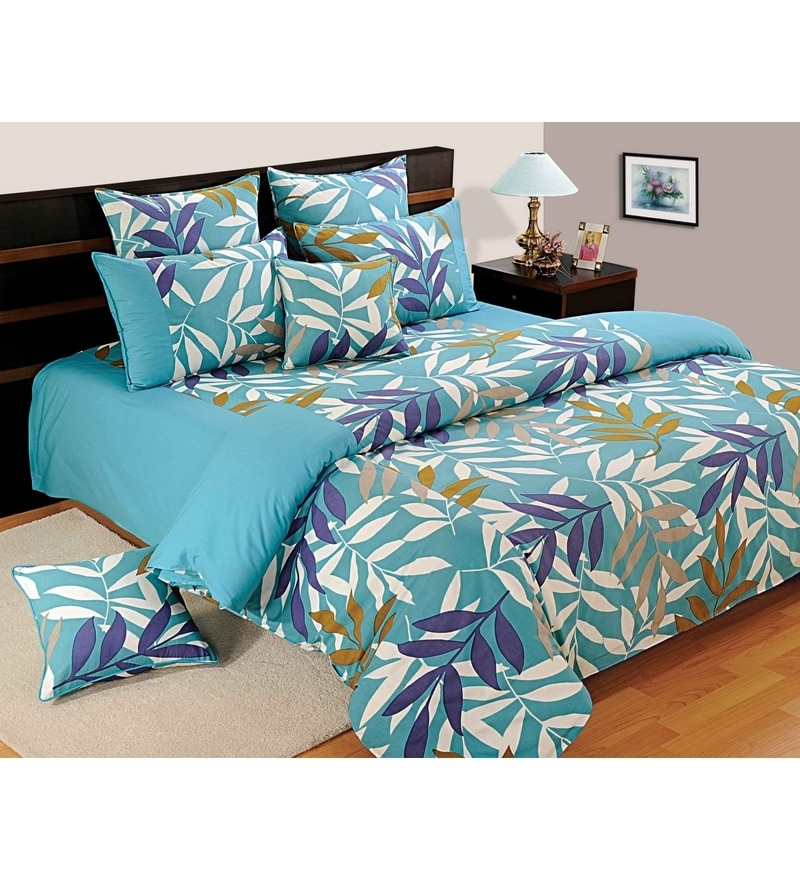 Turquoise Cotton Single Size Bedsheet - Set of 2 by Swayam