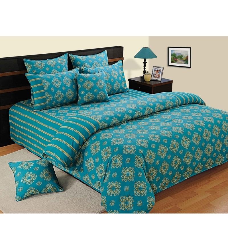 Turquoise Cotton Single Size Bedsheet - Set of 2 by Swayam