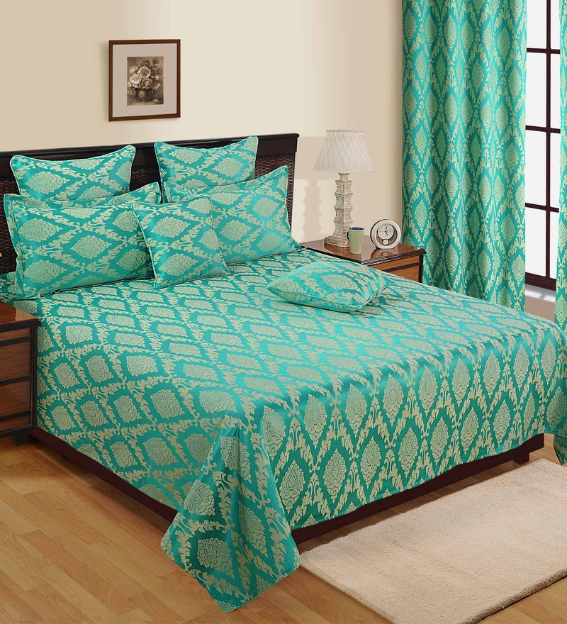 Turquoise Satin plain Queen Size Bed Cover - Set of 5 by Soumya
