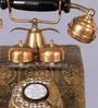 Tu Casa Metallic Finish Vintage Telephone With Clock