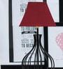 Tu Casa Maroon Poly Cotton Square Lamp Shade