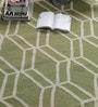 Green Wool 90 x 63 Inch Geometric Carpet by Tulsiram Rugs