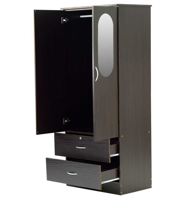 Buy two door wardrobe with mirror in wenge finish by marco for Miroir wenge