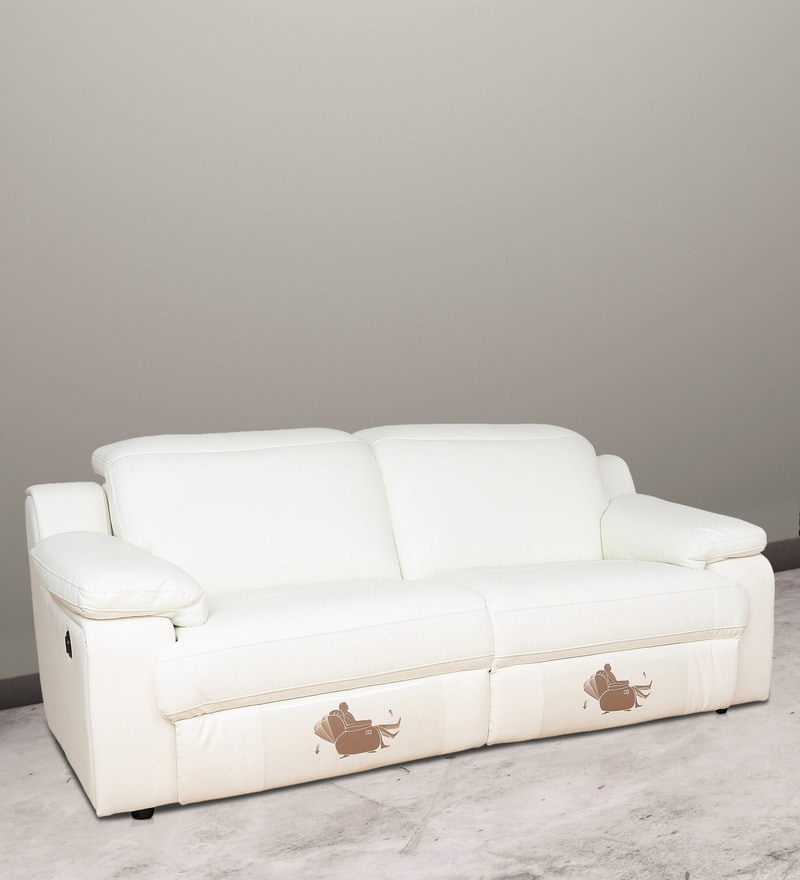 Two Seater Half Leather Motorized Recliner in White Colour by Star India