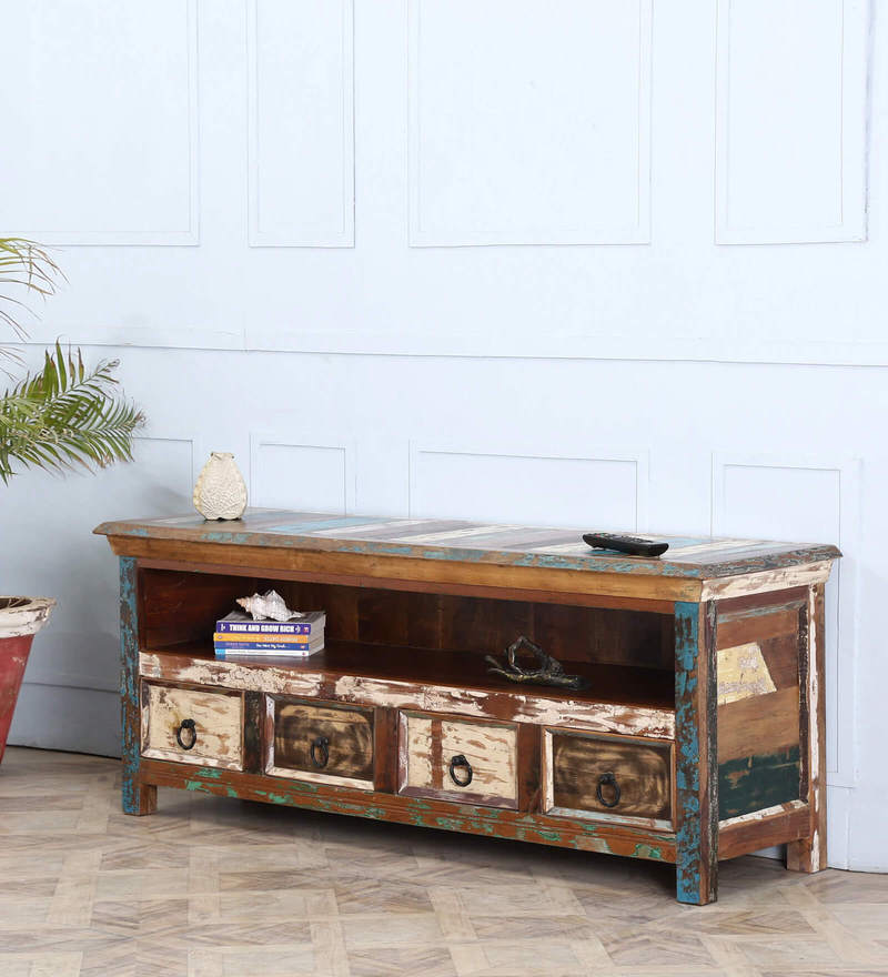 Tynisha Entertainment Unit in Distress Finish by Bohemiana